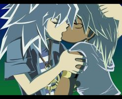 First kiss Marik x Bakura by Medowsweet