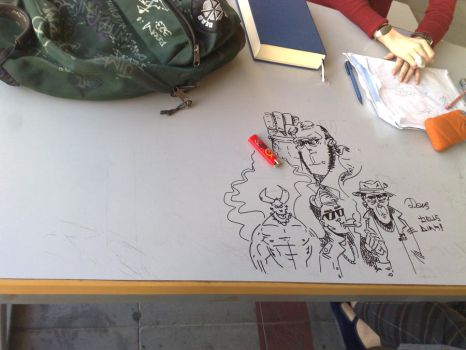 HellBoy and friends at the uni by devilove