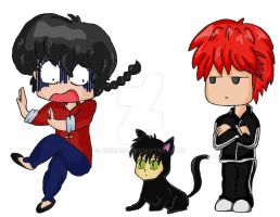 Ranma scared of Rokumon COLOR by Eniirose