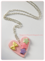Pink Fairy Kei Heart Necklace by TangerineTaiyaki
