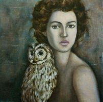 Lady with owl by Hevonie