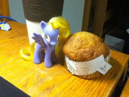 Derpy Hooves + Muffin by eaglehooves