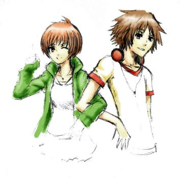P4 doodle Chie and Yosuke by ThePookaPrince