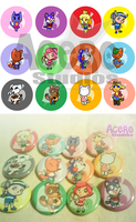 Animal Crossing Buttons by AceroTiburon