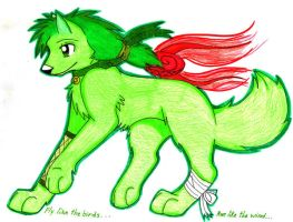 Green wolf...new...yay by forgottenlegend