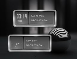 Metal Glass Clock for xwidget by jimking