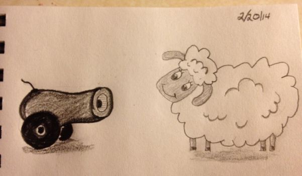 Cannon and Sheep by RadonTheWolf