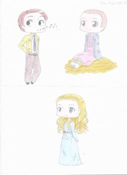 Eleven, Dolores, and Dirk chibis by blairthewitchcat