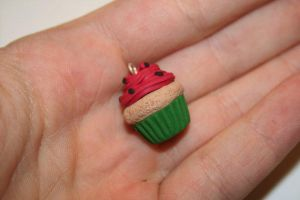 Kawaii Watermelon Cupcake Polymer Clay Charm! by PiinkKittyy