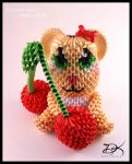 Cherry Bear  - 3D Origami - by Delinlea