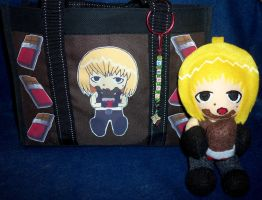 Chibi Mello Chocolate Tote Bag and Plush by TashaAkaTachi