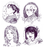 Four Seasons [sketch portraits] by persian-pirate