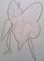 Beedrill Drawing-Lineart by Krizeii