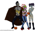 Undead trick-or-treating trio by Paine-MoonG