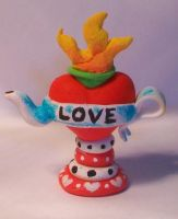 sacred heart tattoo inspired teapot by quantumcreations
