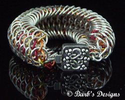 Intricate Fire Chainmaille Bracelet by Barbsdesigns