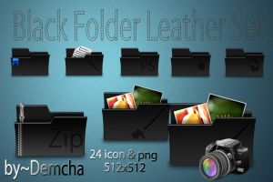 Black Folder Leather Set by DemchaAV