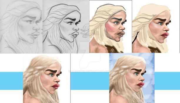 khaleesi Step by Step Painting Progress by HJacobi