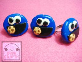 Cookie Monster Adjustable Rings V2 by efeeha