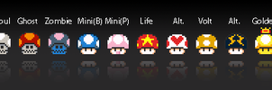 Mario Mushrooms by MisterCow-Pnoy