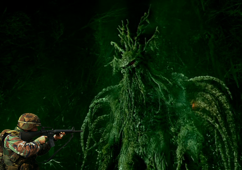 a soldier meets the Man-thing by Pyro-raptor
