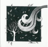 Autumn Wind Pen and Ink by JCBoringStudio