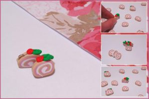 Polymer Clay - Strawberry Cake Roll by Jane-Rt