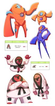 Deoxys and Throh pokedesigns by ZestyDoesThings