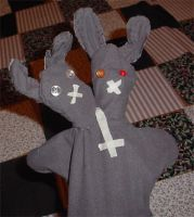 Two headed bunny by puppetry