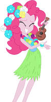 EQ Pinkie dancing in Hawaiian attire by ChipmunkRaccoon2