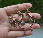 Smoke Quartz and garnet antique copper earrigns by AN-designs