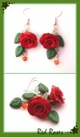 Red Rose Earrings - Commission by HanaClayWorks