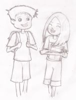 Molly and Humphrey walking to school (Sketch) by mickeyelric11