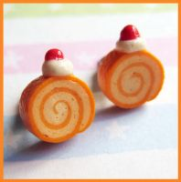 Cake Roll Studs Earrings by cherryboop