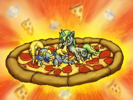 Ponies Playing in Pizza by Cazra