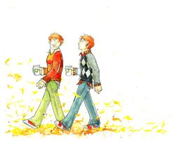 Weasley Twins: Autumn 2009 by The-Starhorse