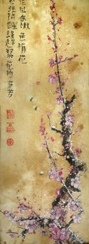 Branch of plum and bee by Metttko
