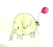 TREE TRUNKS WITH A BALLOON by abbyL13