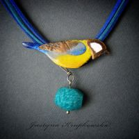 Great Tit with amazonite necklace by szaranagayama