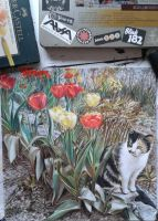 cat and tulips by SusHi182