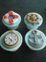 Nautical Cupcakes by Sliceofcake