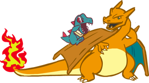 Charizard Totodile by Technophonix