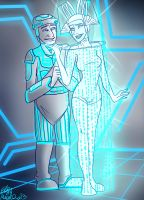 Commission- Crom and Data Pusher Lady for givemeup by candlehat