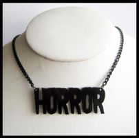 Black Horror Acrylic Necklace by cherryboop