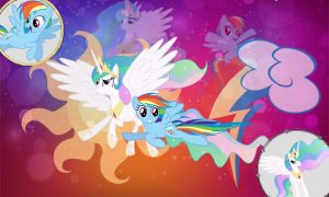 Request : Celestia and Rainbow dash Wallpaper ^^ by Twilightsparkless