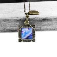 Vintage Bronze Blue and Purple Galaxy Necklace by crystaland