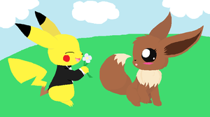 Pikachu and Eevee by PechaScarfRider