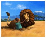 Lion and african child by csgirl