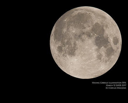 Waxing Gibbous March 12th 0410 by watarigarasu