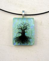 Jade Green Mighty Tree of Life Fused Glass Pendant by FusedElegance